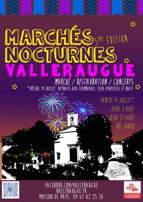 Affiche des marchés nocturnes de Valleraugue pour 2018